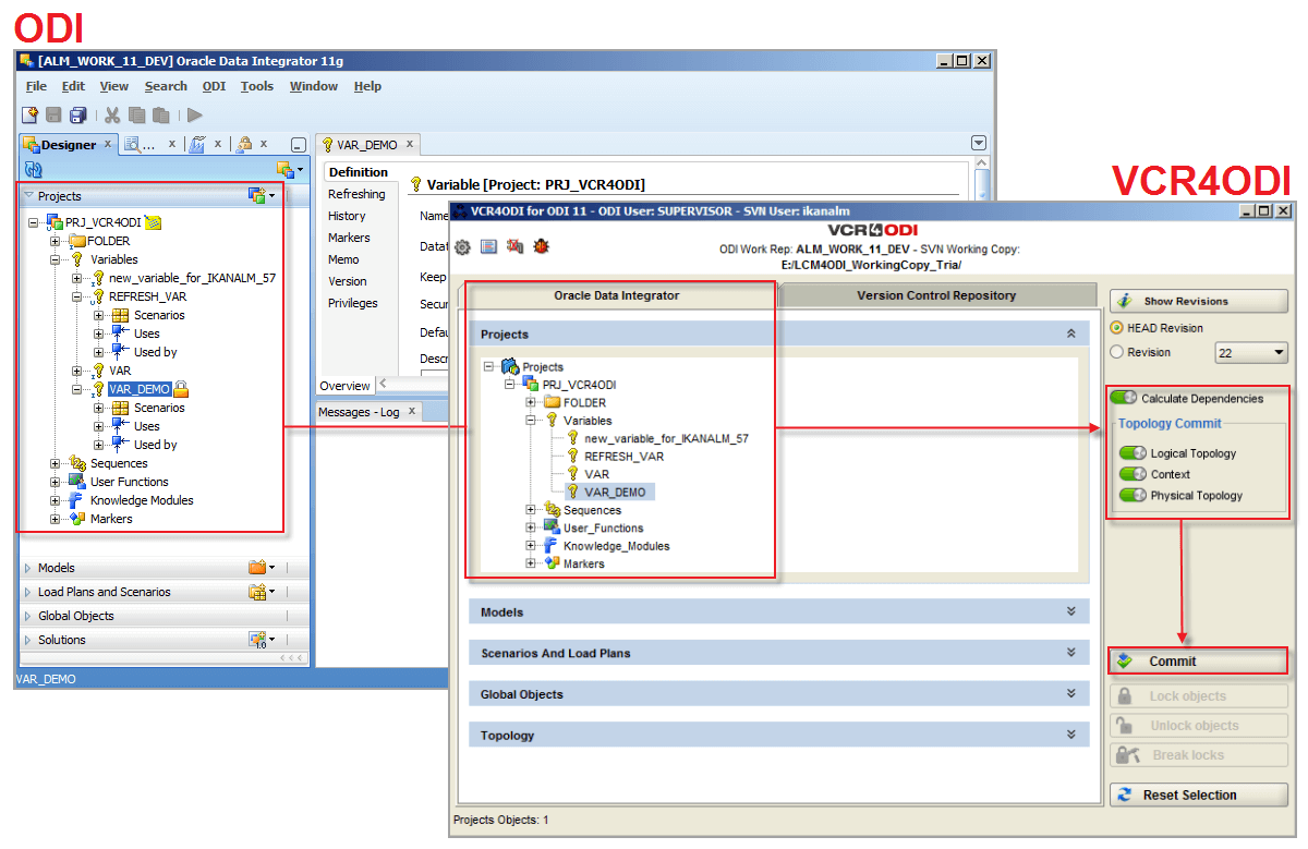 Life cycle management for oracle data integrator redbridge software selecting the odi objects to version baditri Gallery